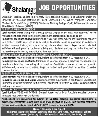Shalamar Hospital Jobs in Lahore 2021