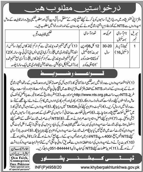 Computer Operator Jobs via NTS in Peshawar 2021