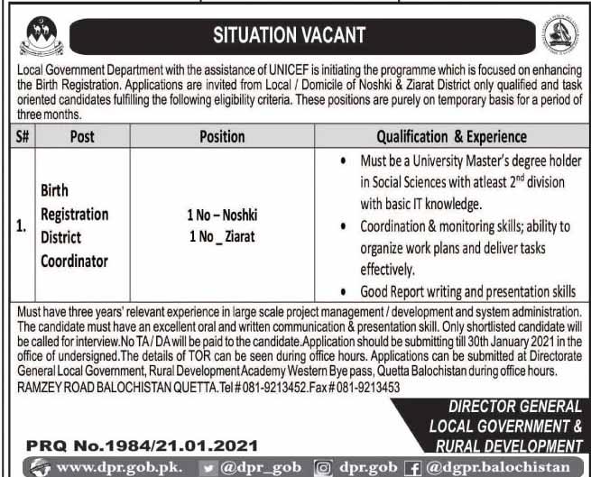 Local Government & Rural Development Jobs 2021