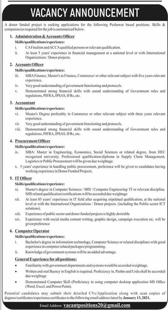 Accountant Accounts Officer Administration & Accounts Officer Computer Operator IT Officer Procurement Officer