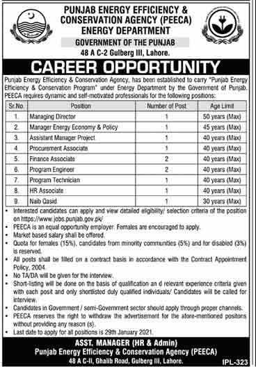 Energy Department Punjab Jobs 2021
