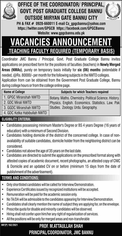 Postgraduate College Bannu Jobs 2021