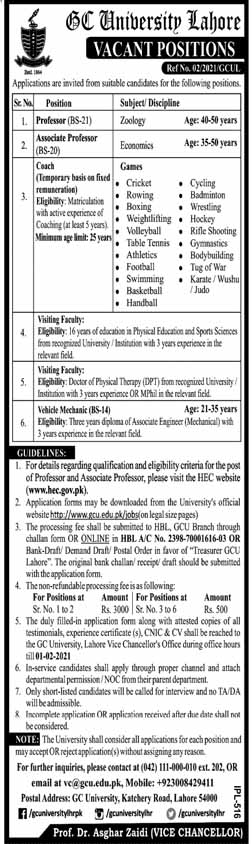 Govt College University Lahore Jobs 2021