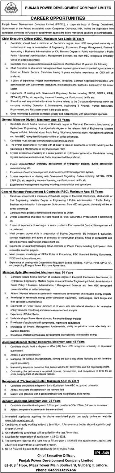 Govt Jobs in Lahore 2021 in Energy Department