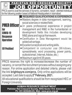 Jobs in Pakistan Red Crescent Society (PRCS) for PMER Officer