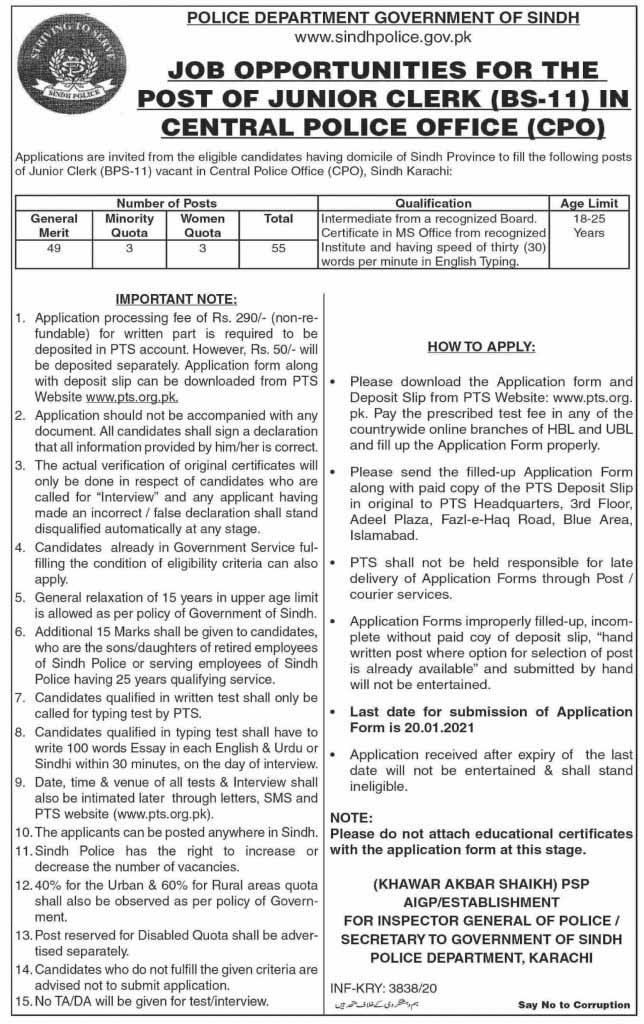 Junior Clerk Jobs in Sindh Police 2021