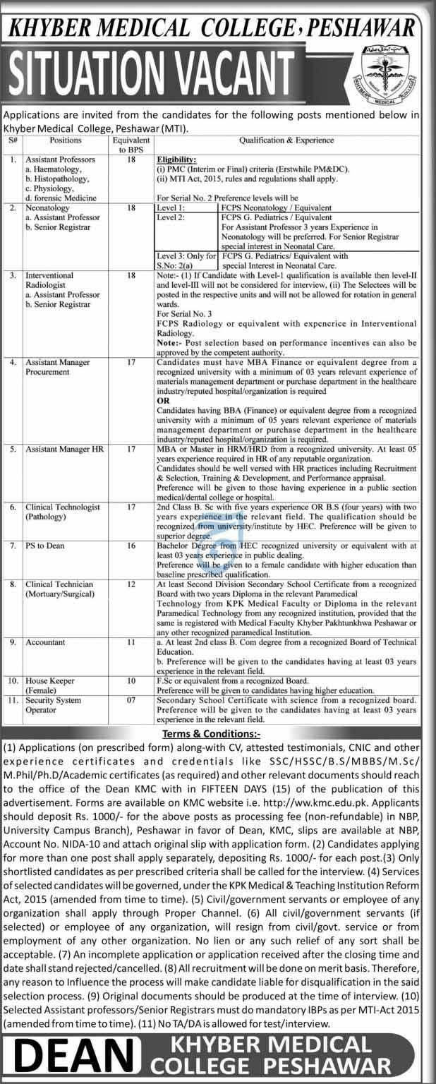 Khyber Medical College KMC Jobs in Peshawar 2021