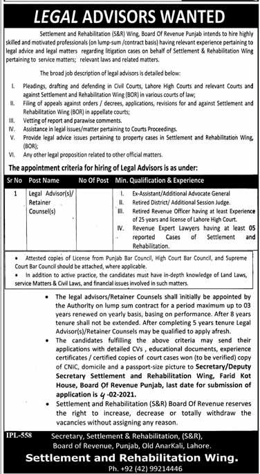 Legal Advisors (LLB) Jobs in Board of Revenue Punjab 2021