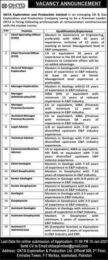 OKTA Exploration & Production Company Jobs 2021