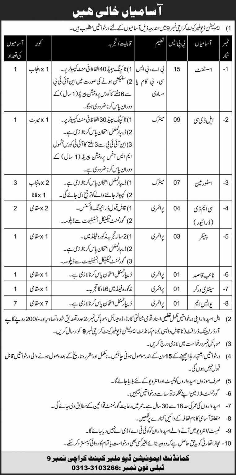 Pak Army Ammunition Depot Malir Jobs 2021