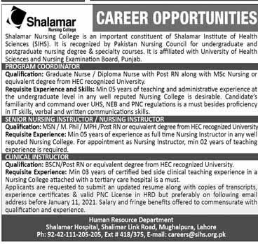 Shalamar Hospital Jobs 2021