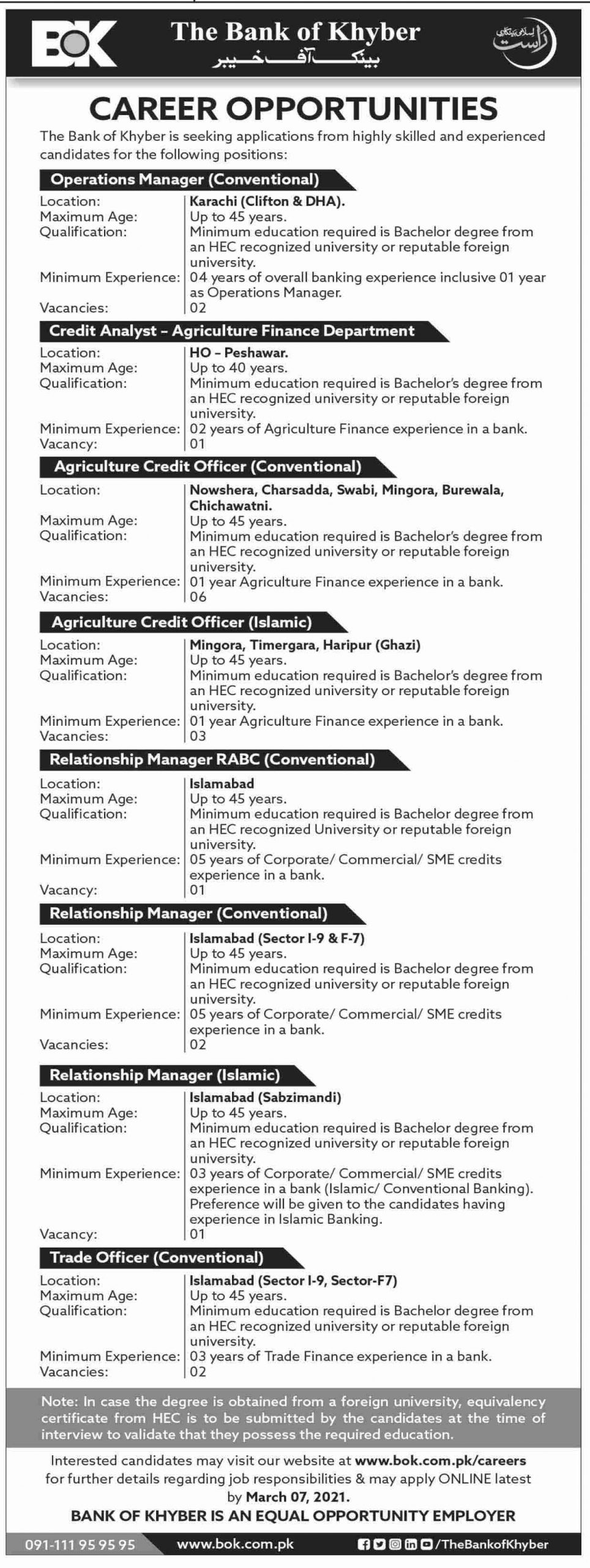 Bank of Khyber (BOK) Jobs