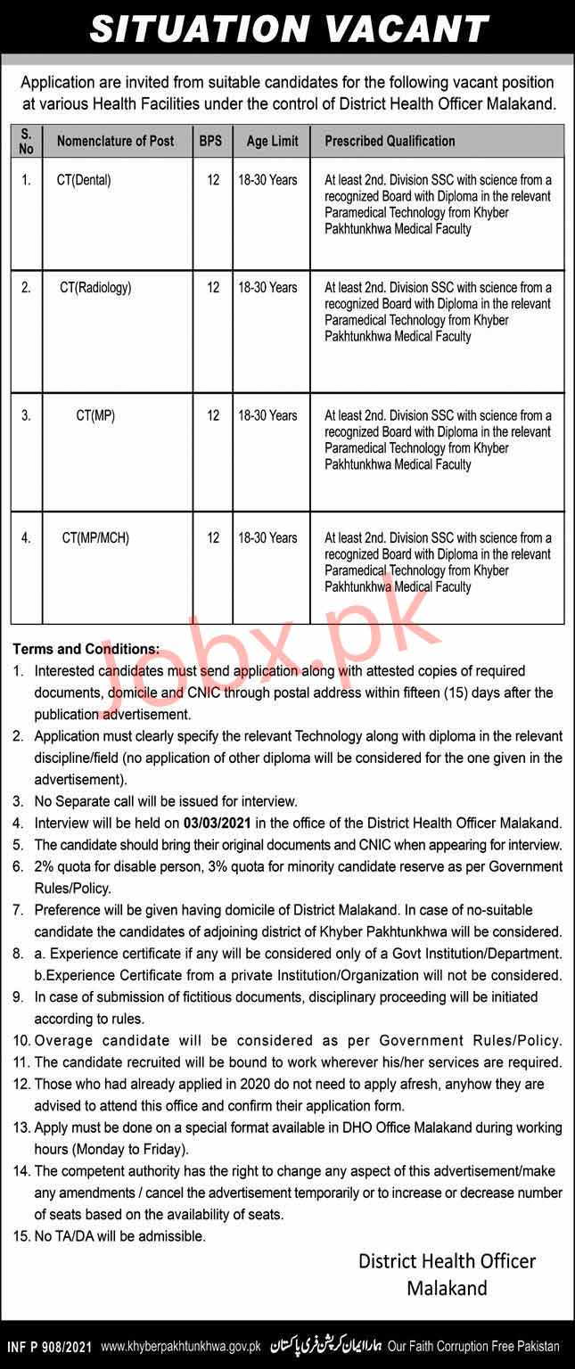 CT Jobs 2021 in District Health Officer Malakand