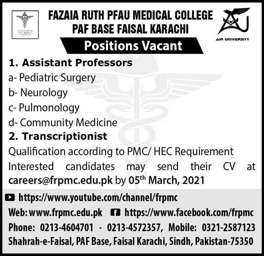 Fazaia Ruth Pfau Medical College PAF Base Faisal Karachi