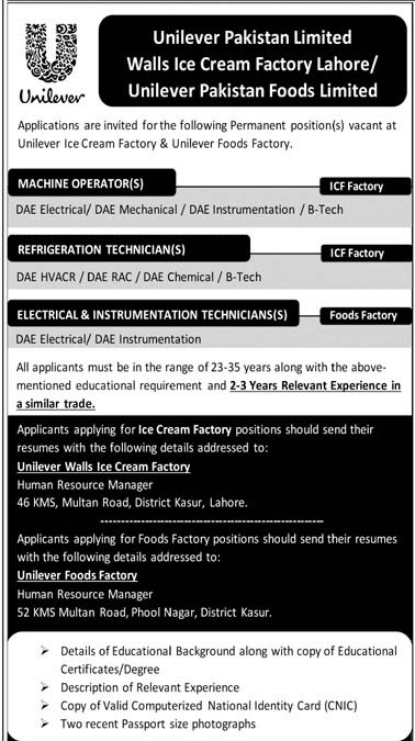 Machine Operator Refrigeration Technician Electrical & Instrument Technician`