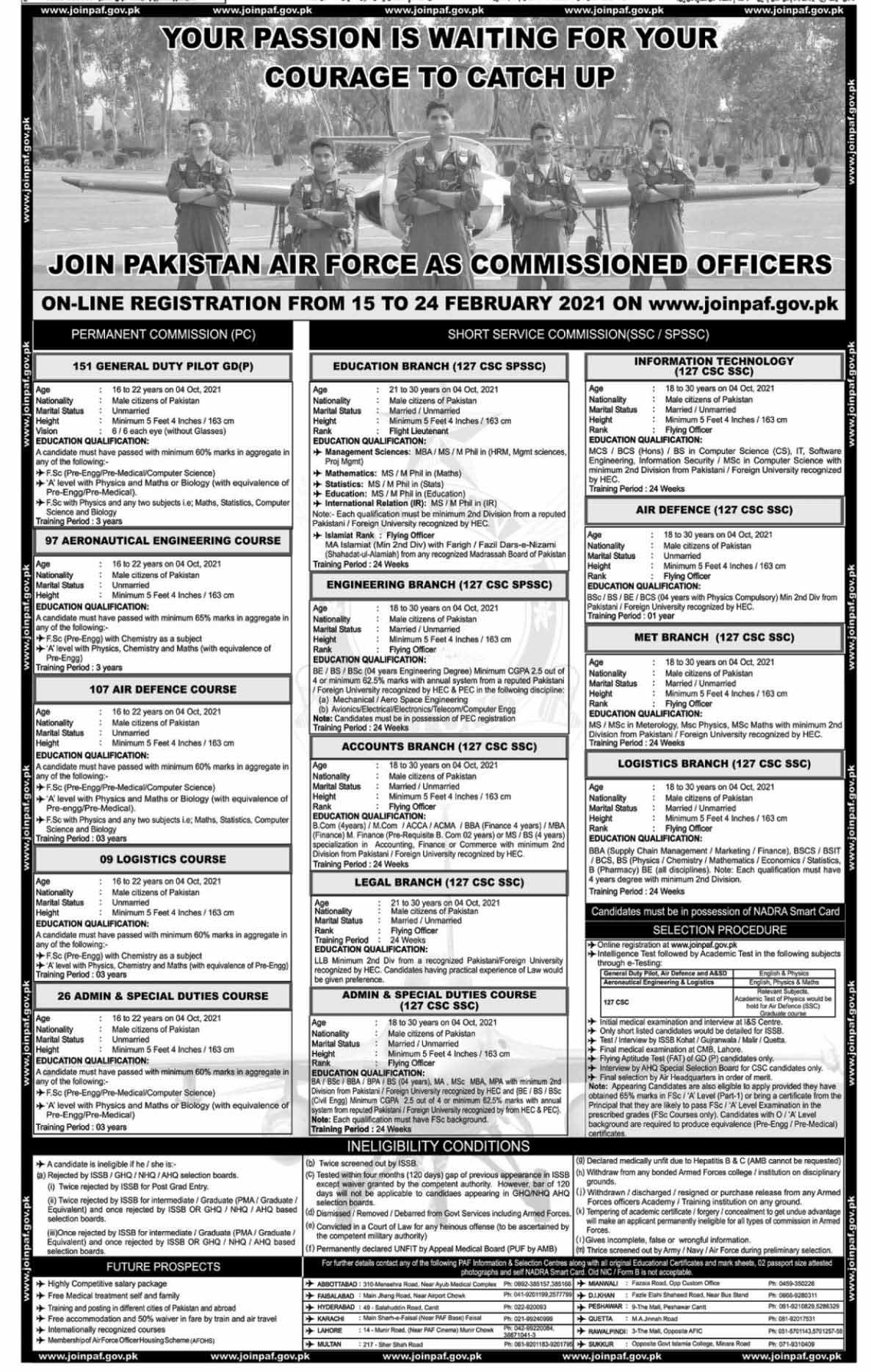 Commissioned Officern PAF jobs