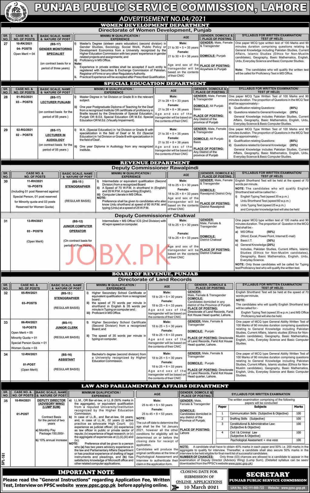 PPSC Feb 2021 Jobs Advertisment No.4
