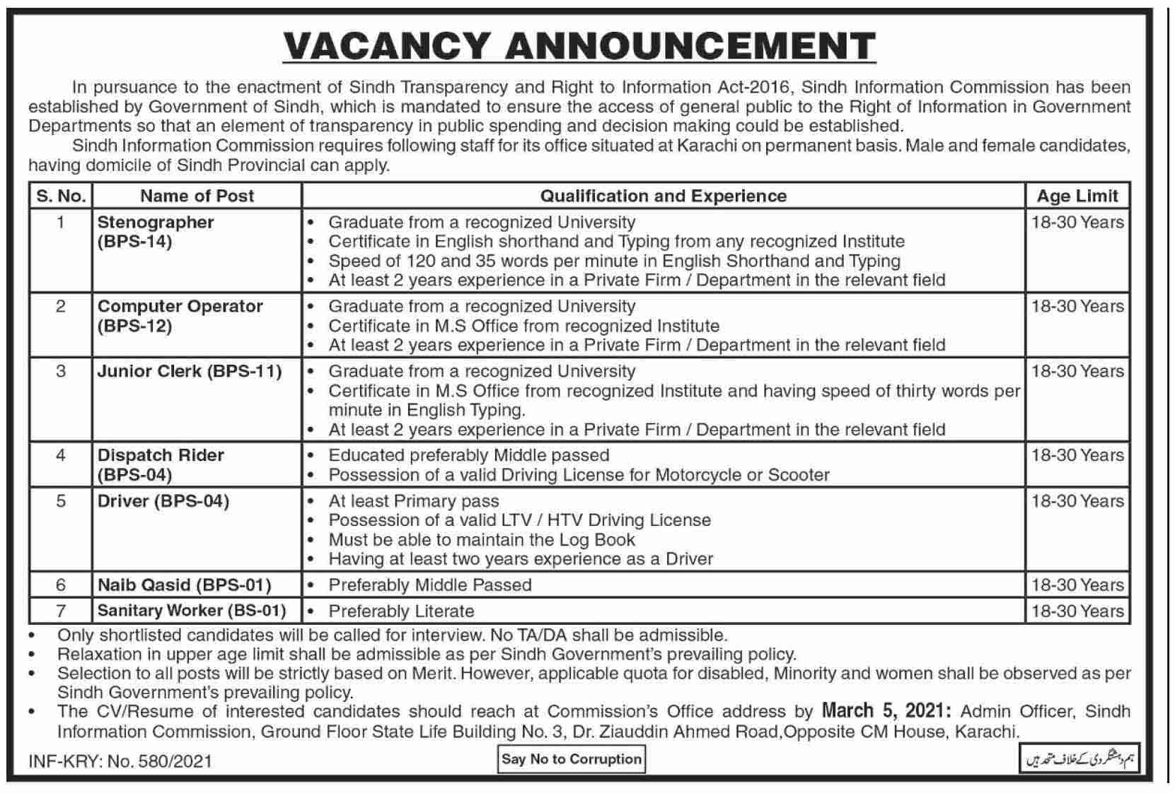 Sindh Information Commission 2021