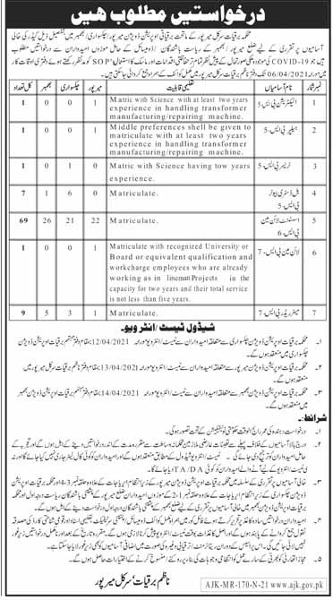 AJK Electricity Department Mirpur Jobs March 2021