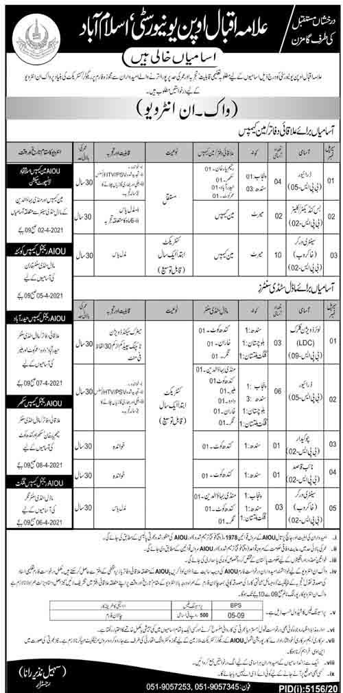Allama Iqbal Open University (AIOU) Jobs March 2021