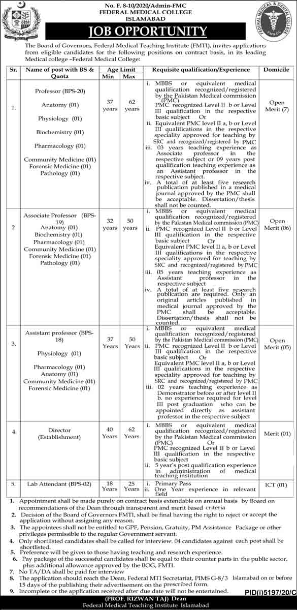 Federal Medical College (FMC) Islamabad Jobs March 2021