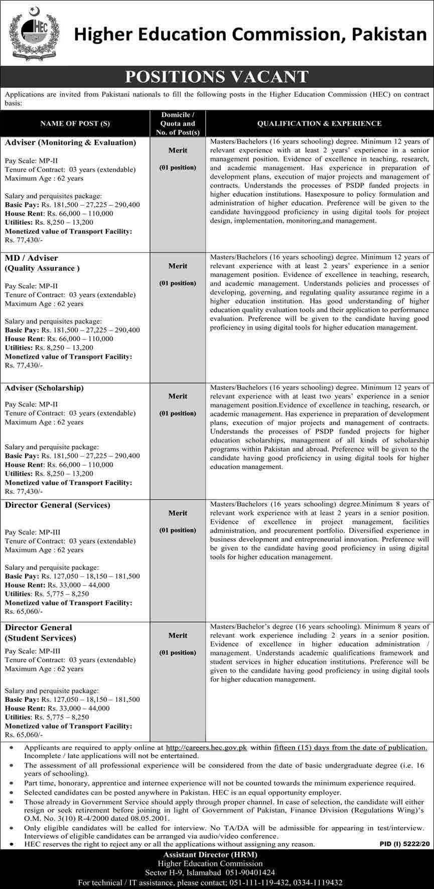Higher Education Commission (HEC) Islamabad Jobs March 2021