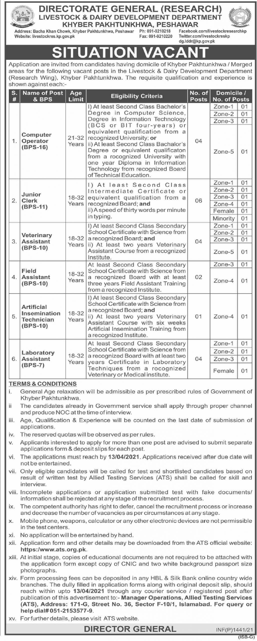 Computer Operator Artificial Insemination Technician Laboratory Assistant Junior Clerk Veterinary Assistant Field Assistant