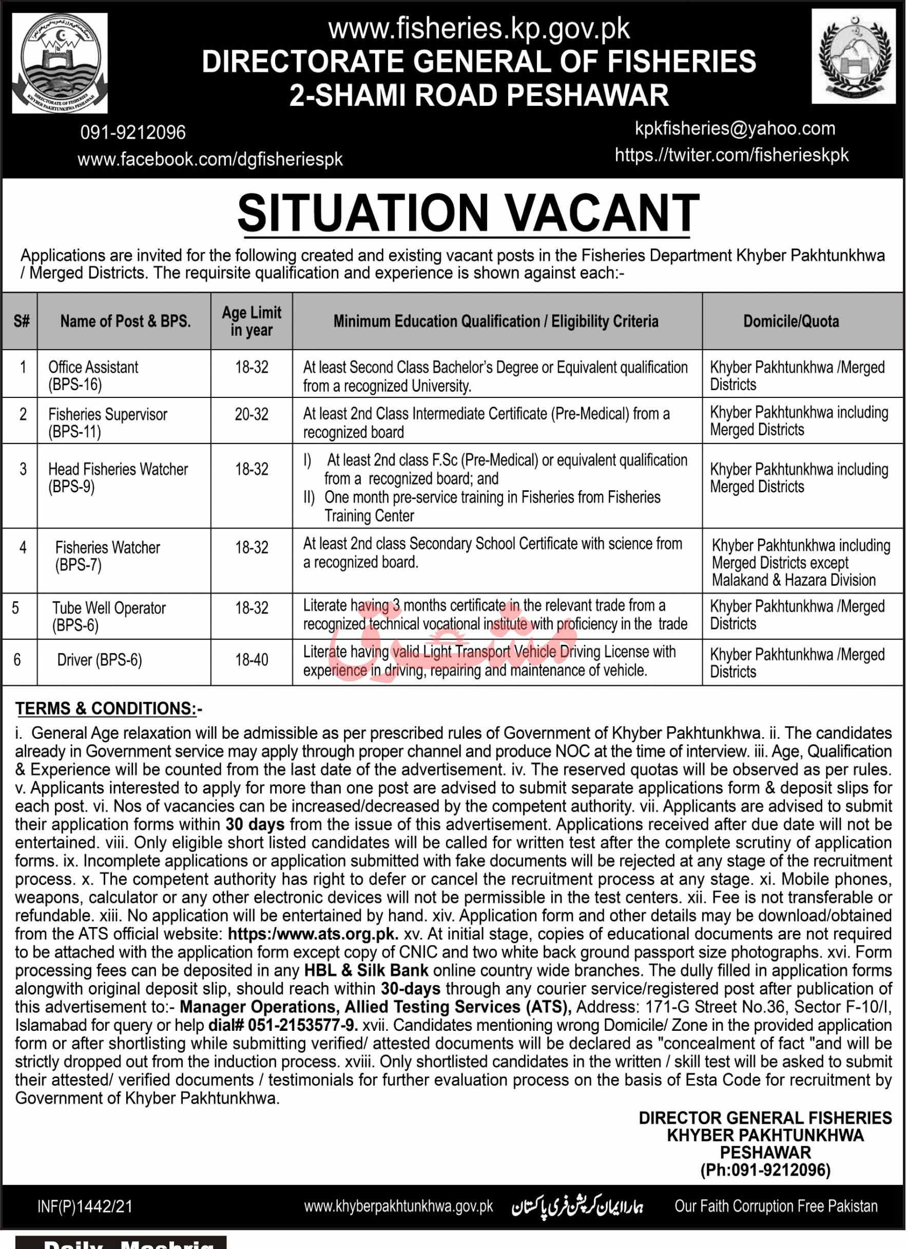 KPK Fisheries Department Peshawar Jobs 2021