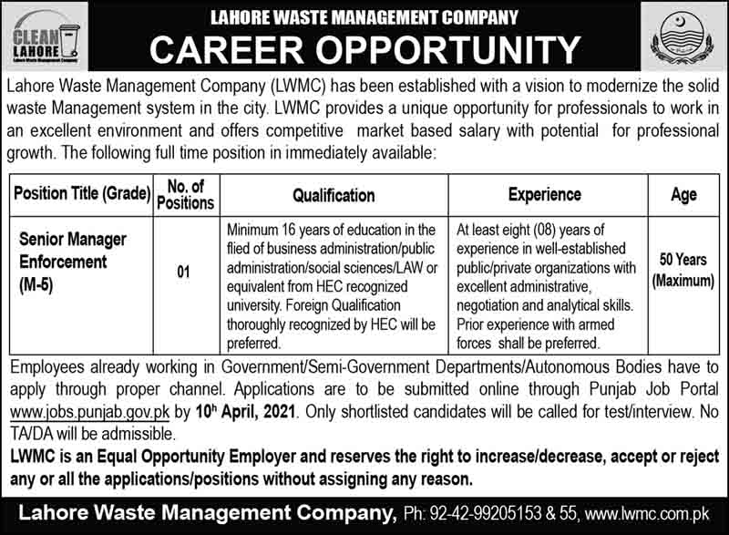 Lahore Waste Management Company (LWMC) March 2021
