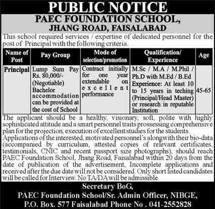 PAEC Foundation School Faisalabad Jobs 2021