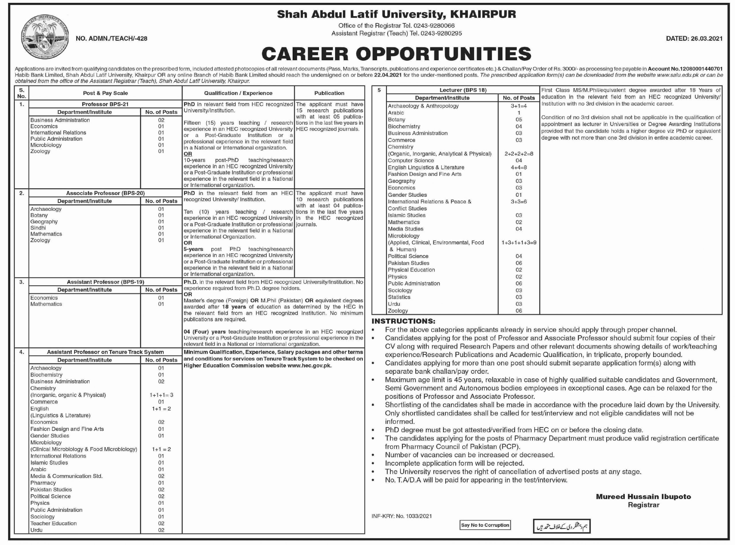 Shah Abdul Latif University Khairpur Jobs March 2021 (155 Posts)