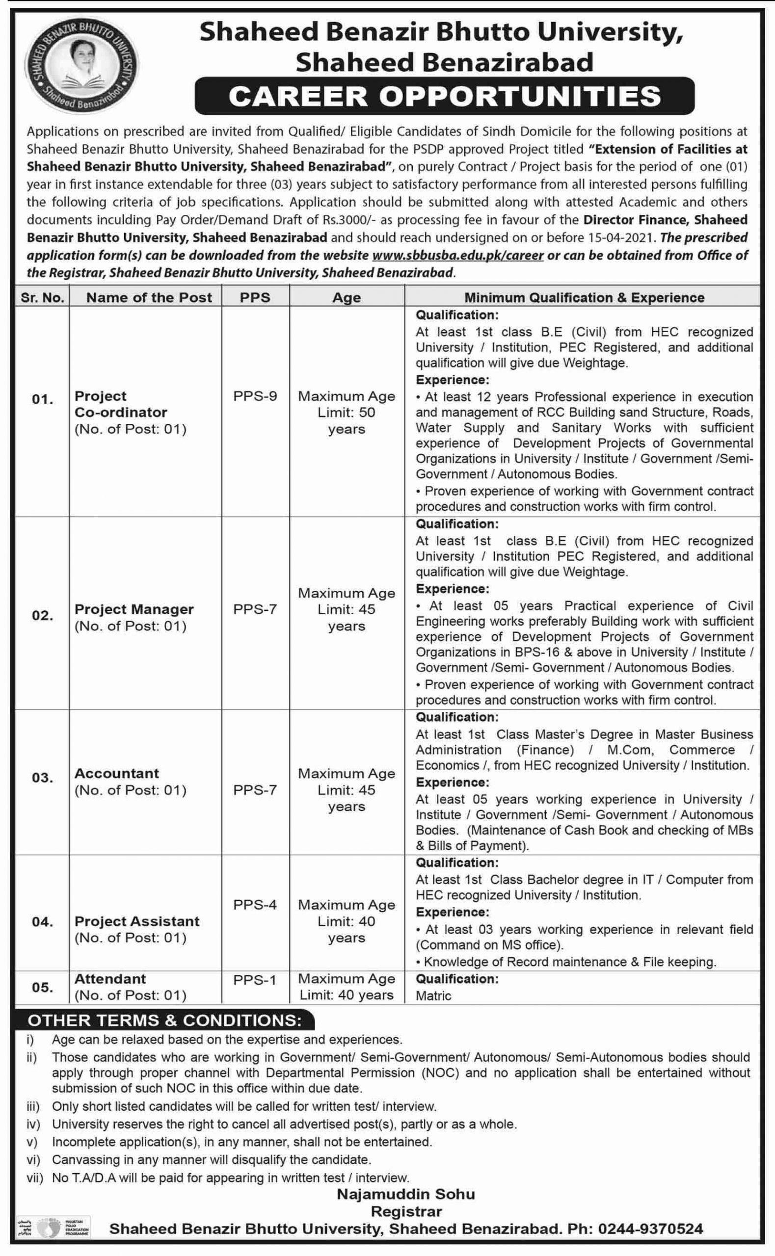 Shaheed Benazir Bhutto University Shaheed Benazirabad Jobs March 2021