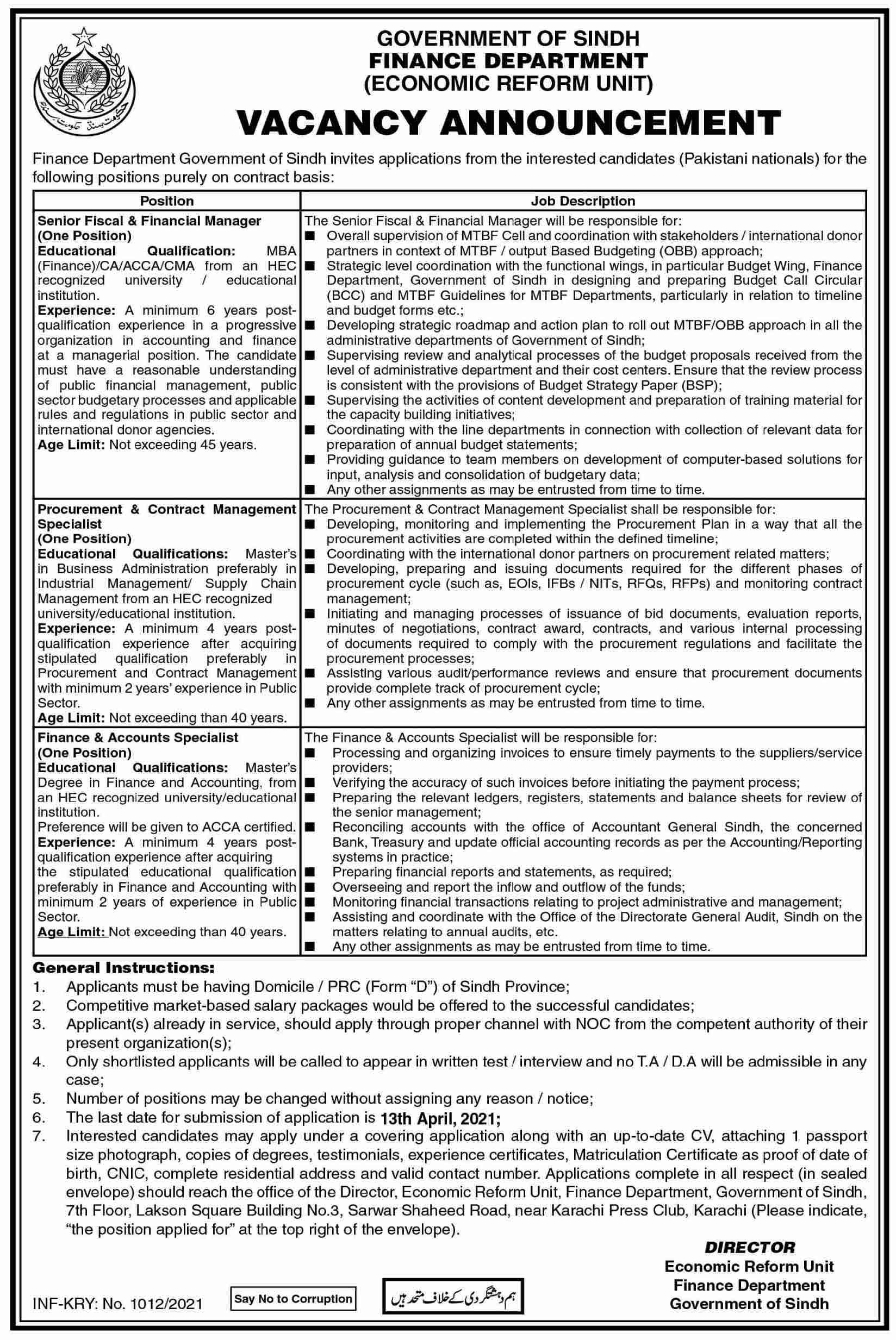Sindh Finance Department (Economic Reform Unit) Jobs March 2021