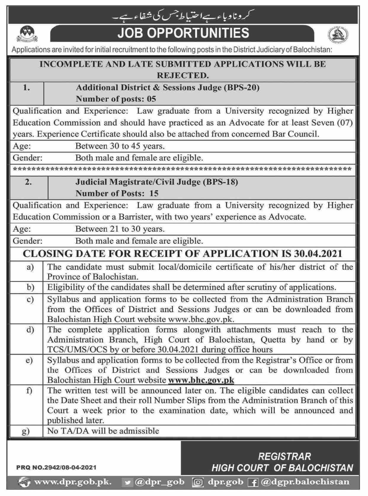 Balochistan District Judiciary Jobs April 2021