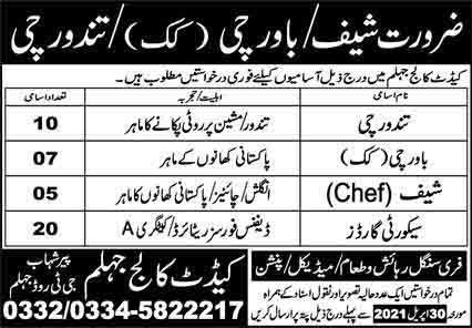 Cadet College Jhelum April 2021 (42 Posts)
