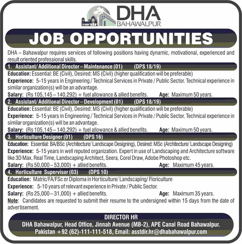 Defense Housing Authority DHA Bawahawlpur Jobs April 2021