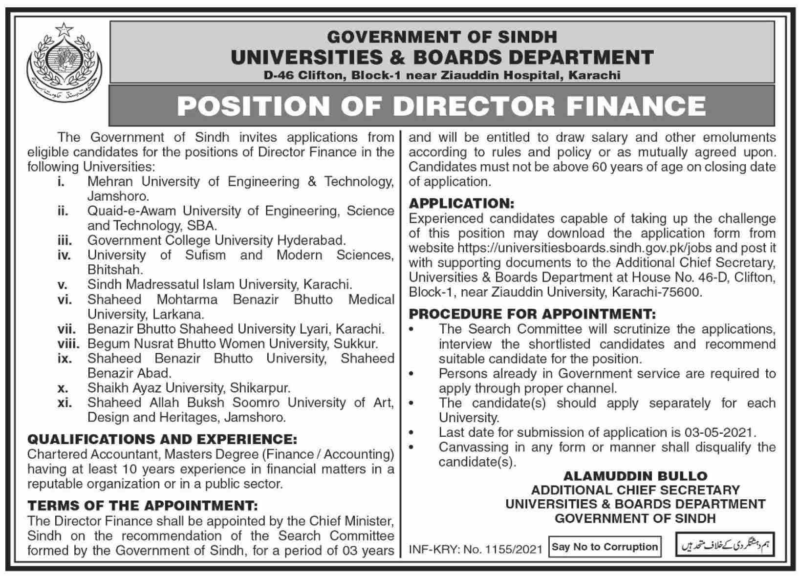 Director Finance Jobs 2021 in Sindh Universities & Boards Department