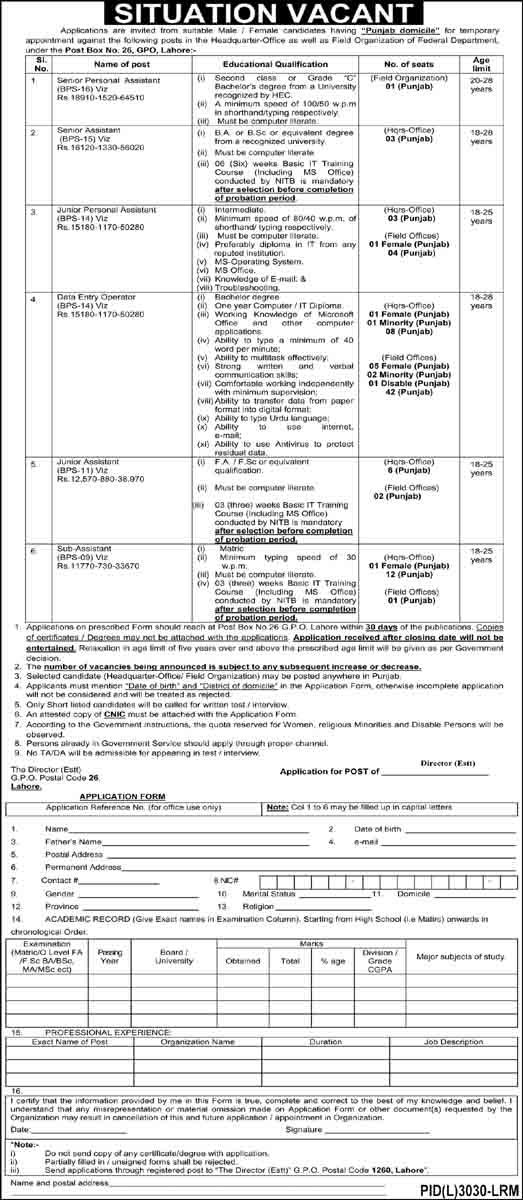 Federal Department PO Box 26 Lahore April 2021