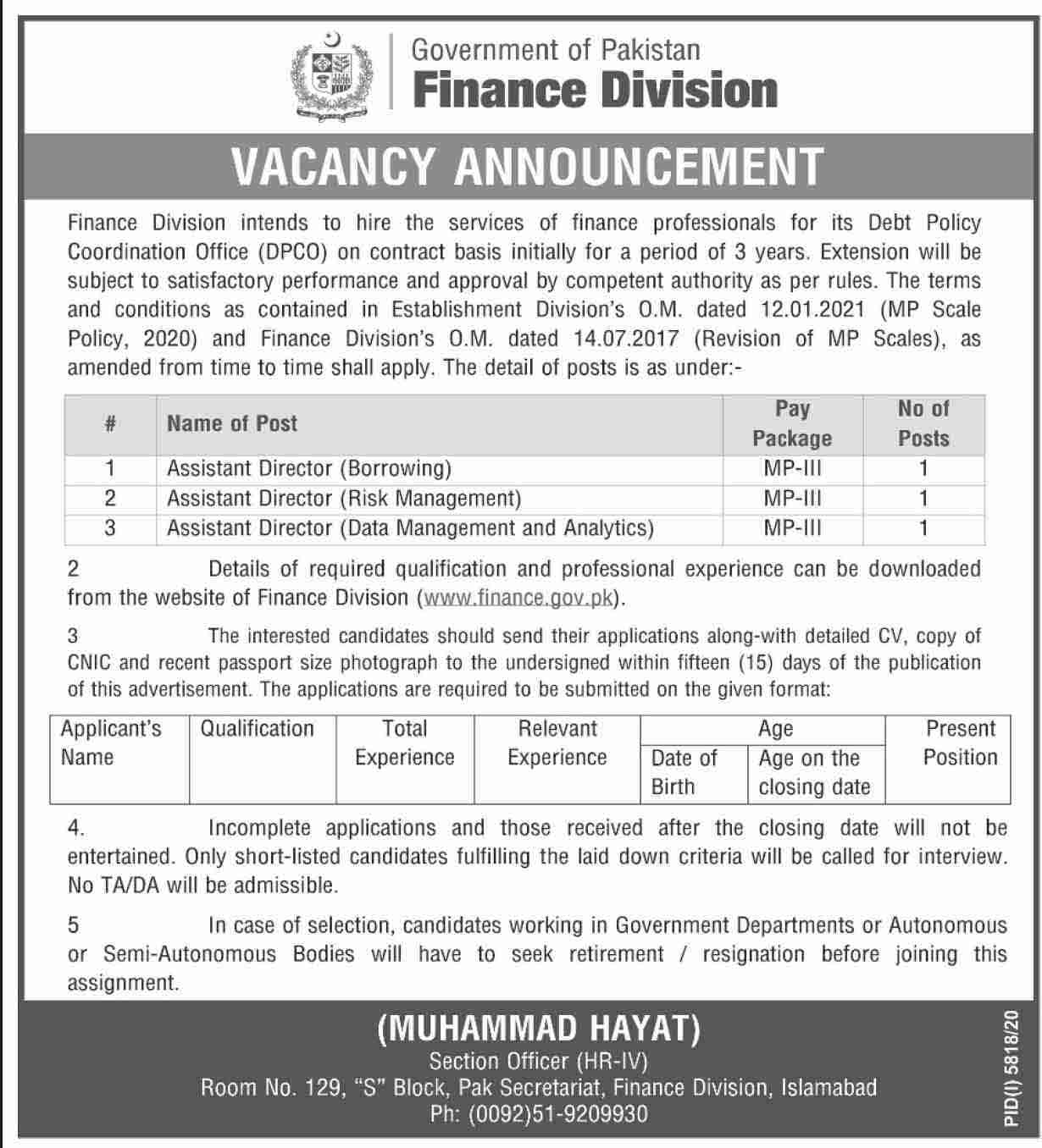 Finance Division Government of Pakistan Islamabad April 2021