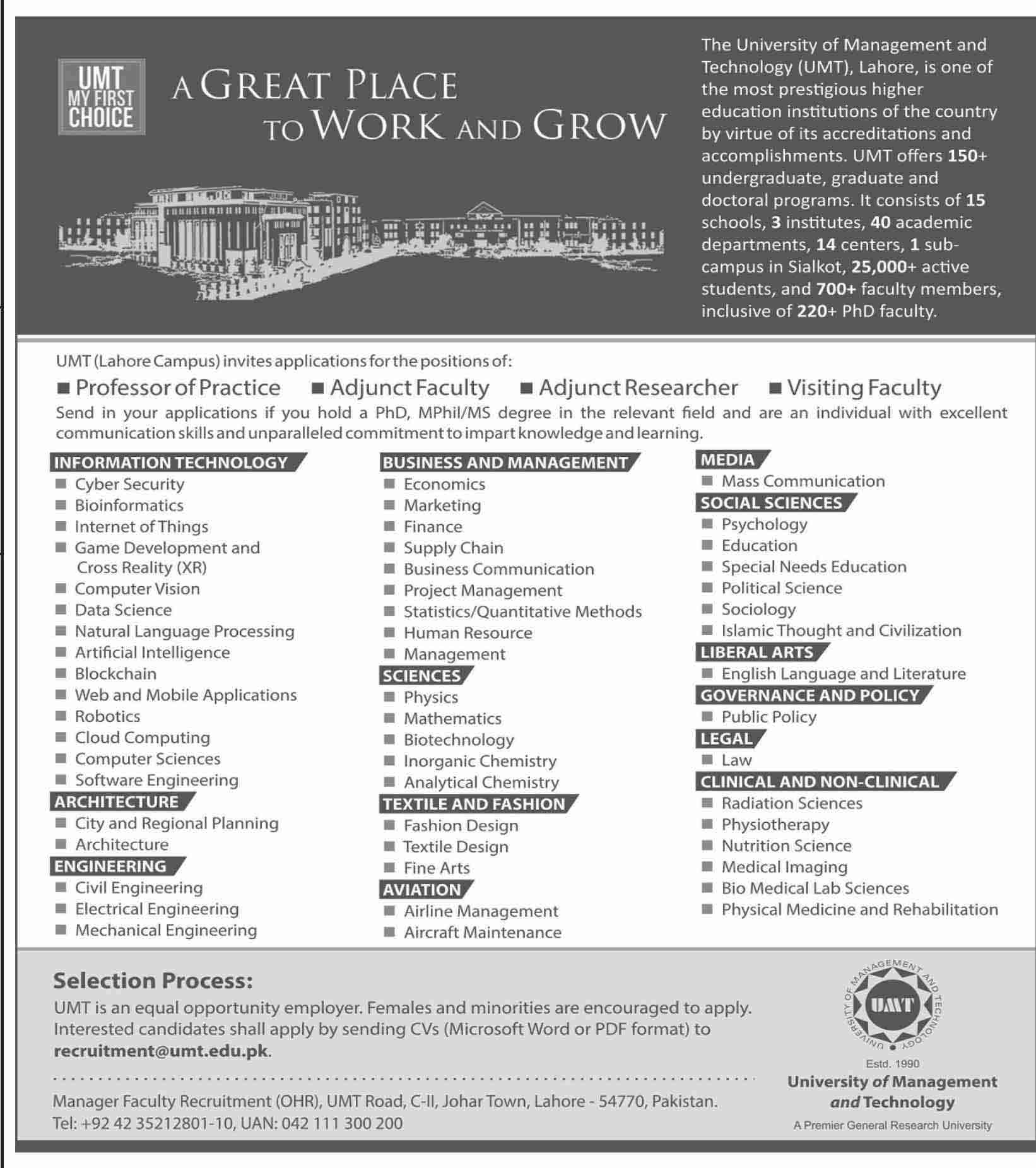 Jobs in University Of Management And Technology (UMT) April 2021 (200 Posts)