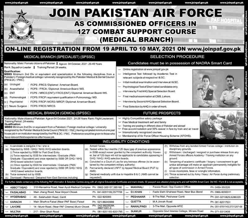Pakistan Air Force (PAF) as Squadron Leader/Flight Lieutenant in Medical Branch April 2021 (200 Posts)