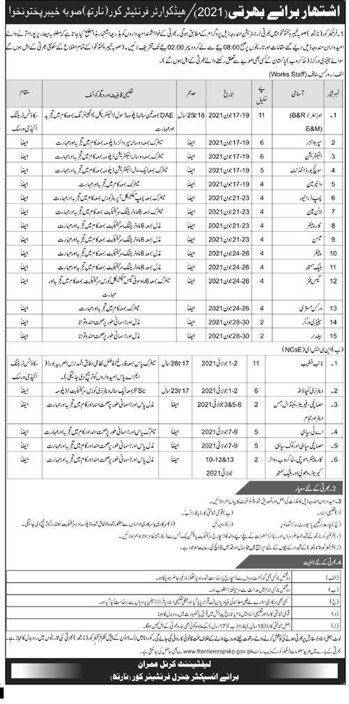 Headquarter Frontier Corps (North) Jobs May 2021 Jobs May 2021 (100 Posts)