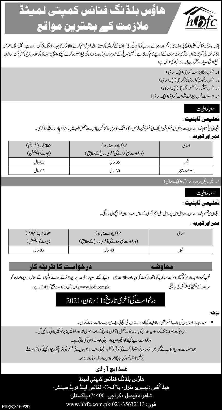 House Building Finance Company Limited (HBFC) Jobs May 2021