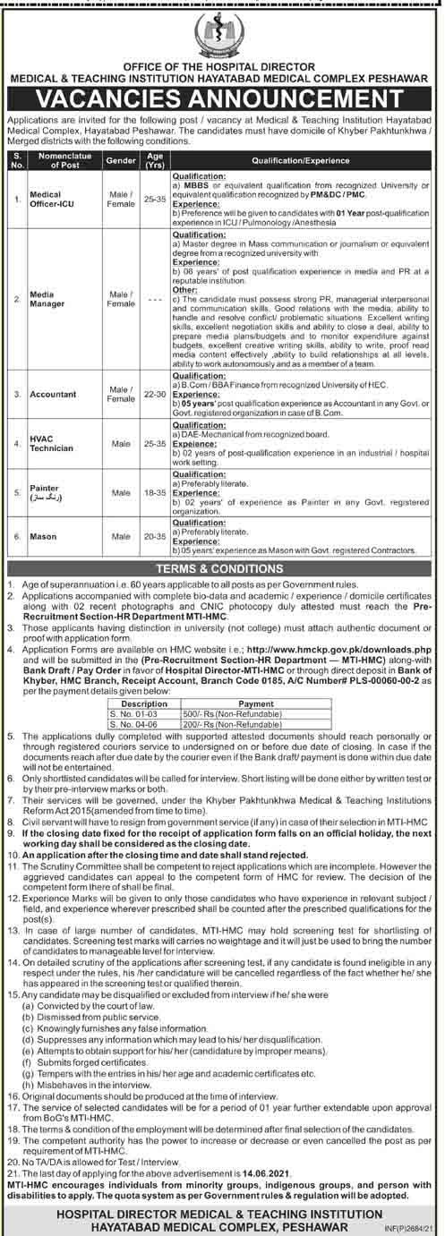 Jobs in Medical & Teaching Institution (MTI) Hayatabad Medical Complex Peshawar May 2021