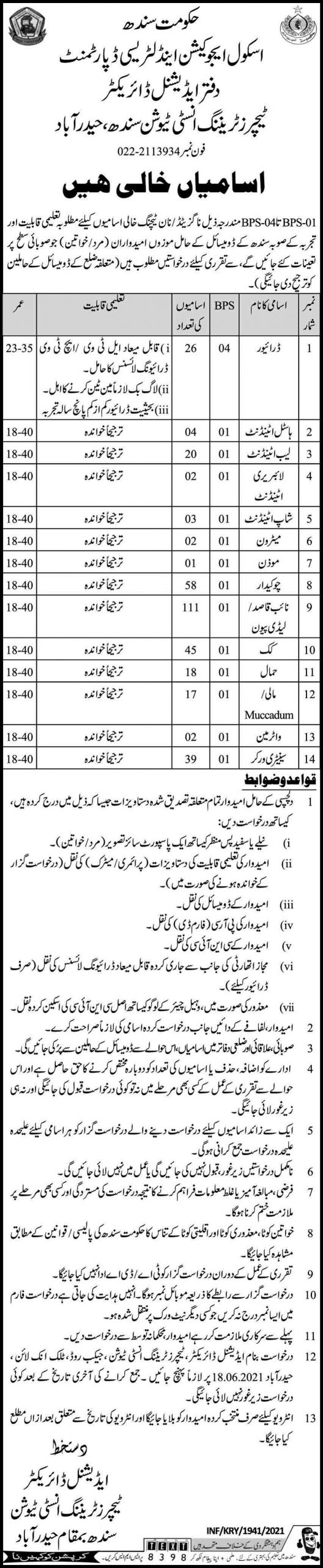 Jobs in Sindh School Education & Literacy Department May 2021 (348 Posts)
