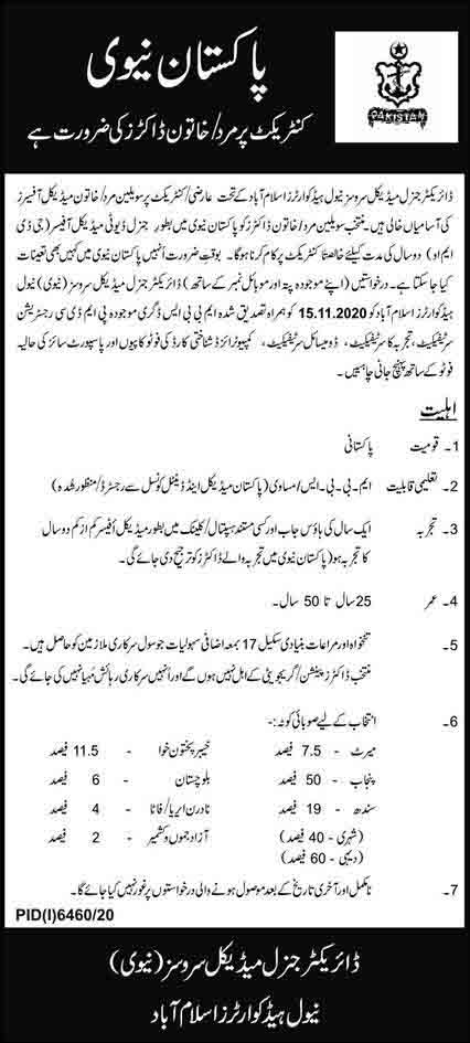 Join Pakistan Navy As Civilian Doctor (General Duty Medical Officer GDMO) Jobs May 2021 (50 Posts)