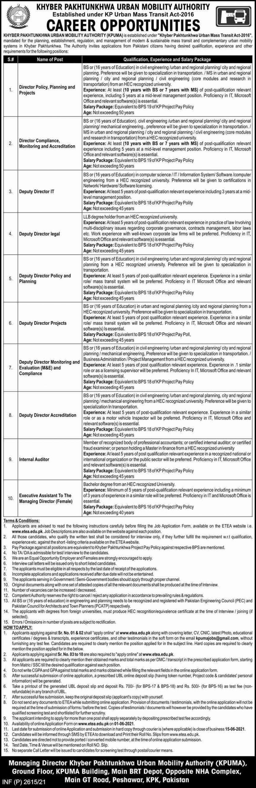 KPK Urban Mobility Authority (KPUMA) Jobs May 2021