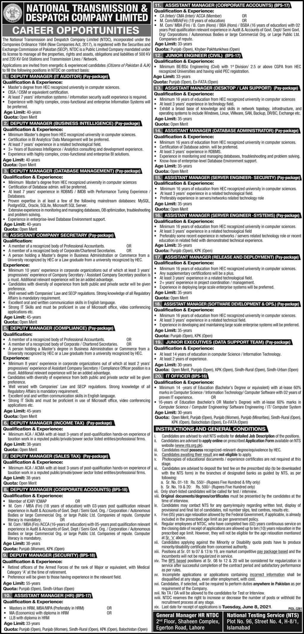 National Transmission and Despatch Company Limited (NTDC) Jobs May 2021 (50 Posts)
