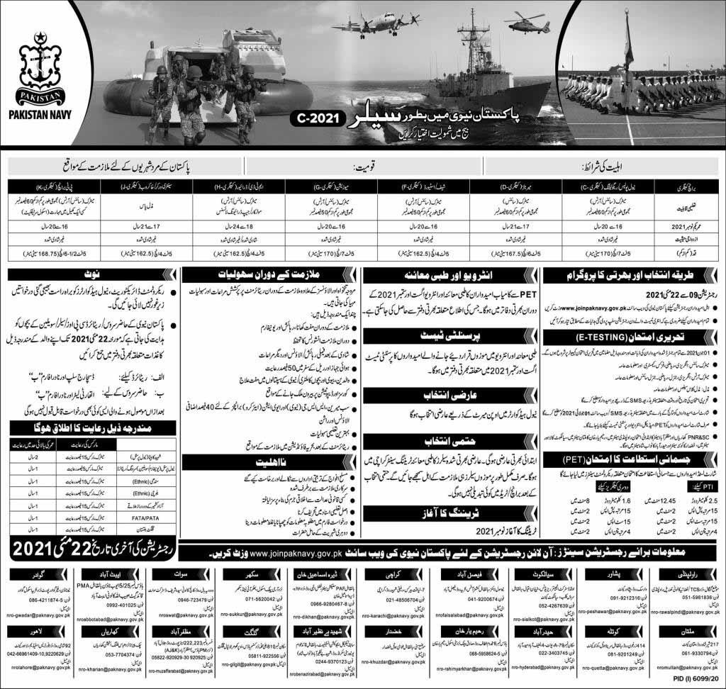 Sailor Jobs in Pakistan Navy May 2021
