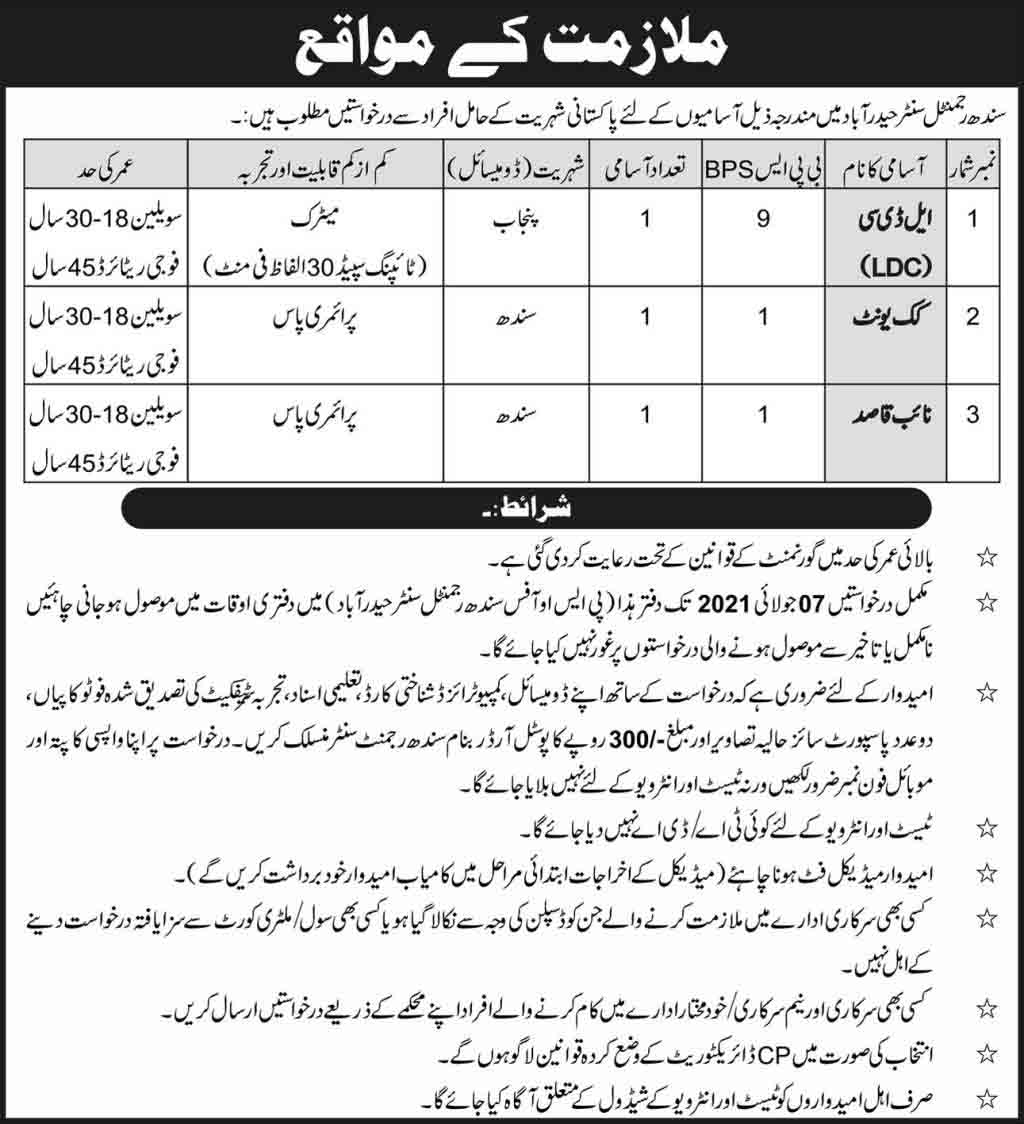 Pak Army Sindh Regimental Center Hyderabad Jobs June 2021
